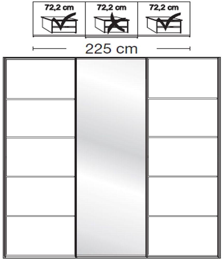 Wiemann VIP Westside2 3 Door 1 Mirror 5 Panel Sliding Wardrobe in White - W 225cm D 67cm