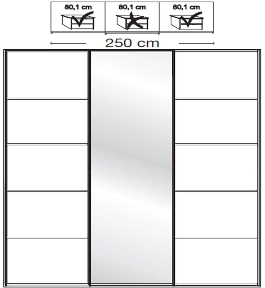 Wiemann VIP Westside2 3 Door 1 Mirror 5 Panel Sliding Wardrobe in White - W 250cm D 79cm