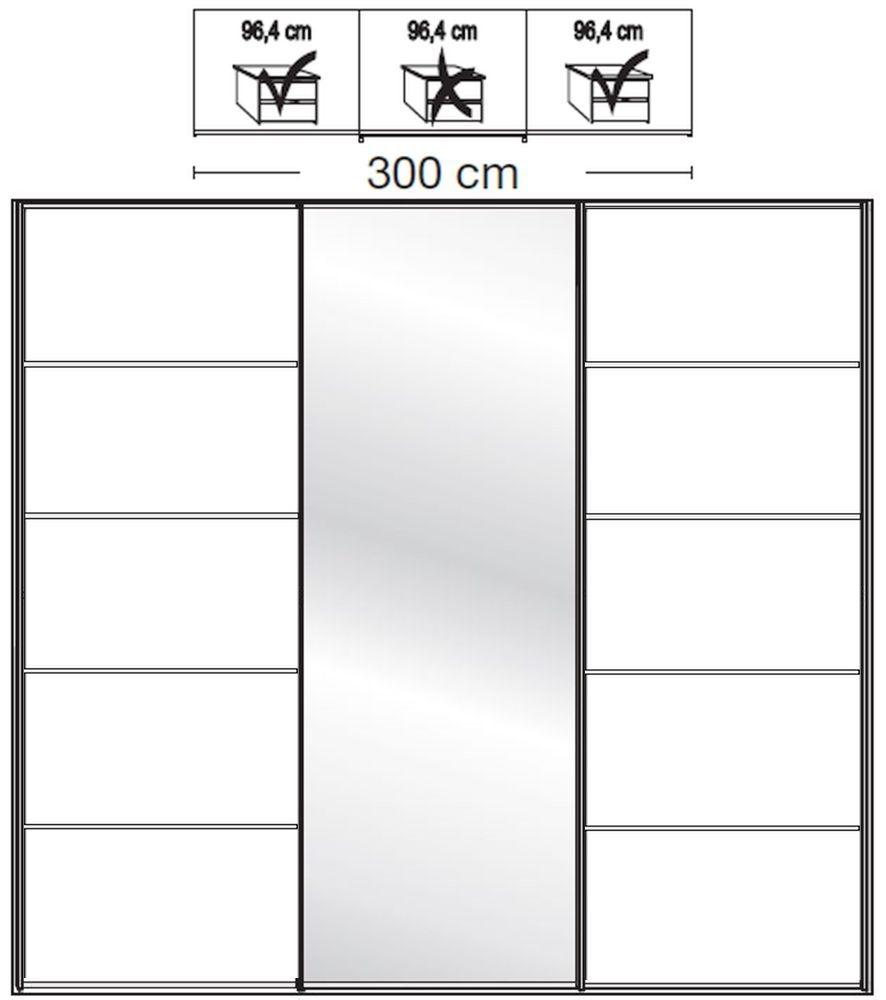 Wiemann VIP Westside2 3 Door 1 Mirror 5 Panel Sliding Wardrobe in White - W 300cm D 79cm