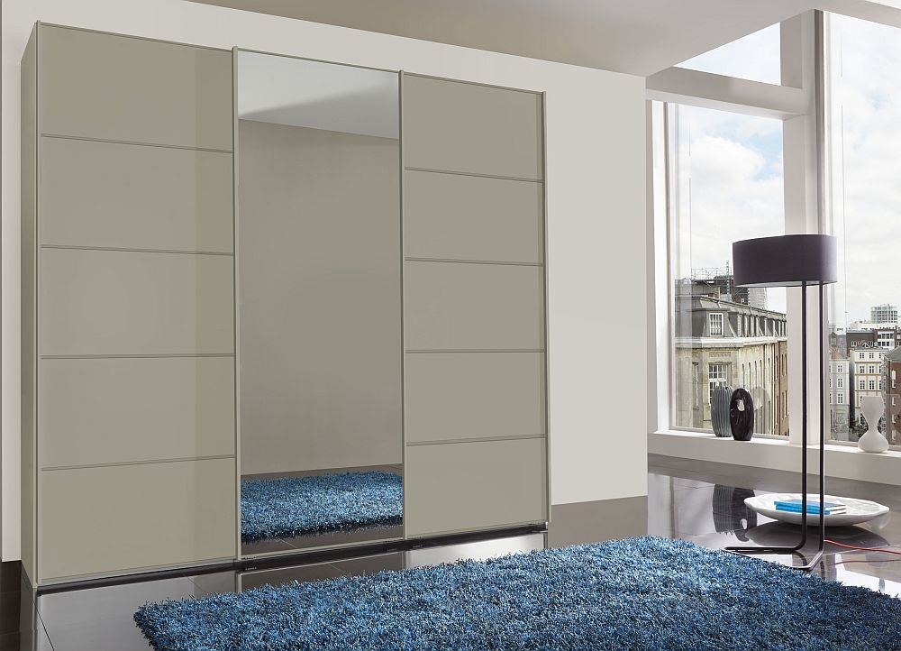 Wiemann VIP Westside2 3 Door Mirror Sliding Wardrobe in Pebble Grey - W 250cm