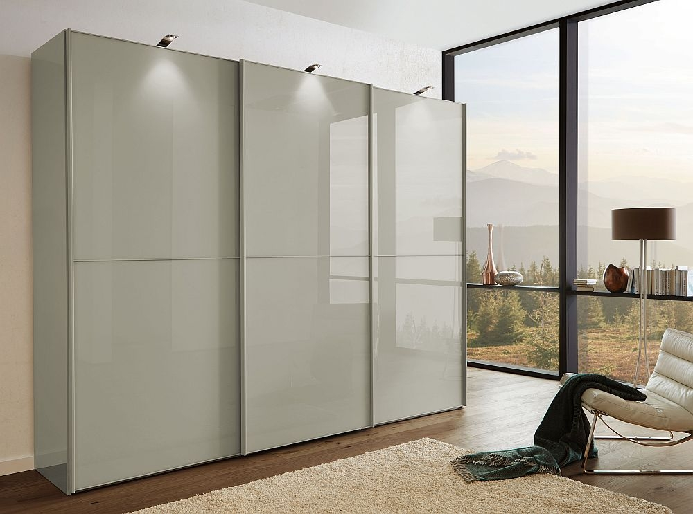 Wiemann VIP Westside2 3 Door Sliding Wardrobe with 2 Panel in Pebble Grey Glass - W 250cm