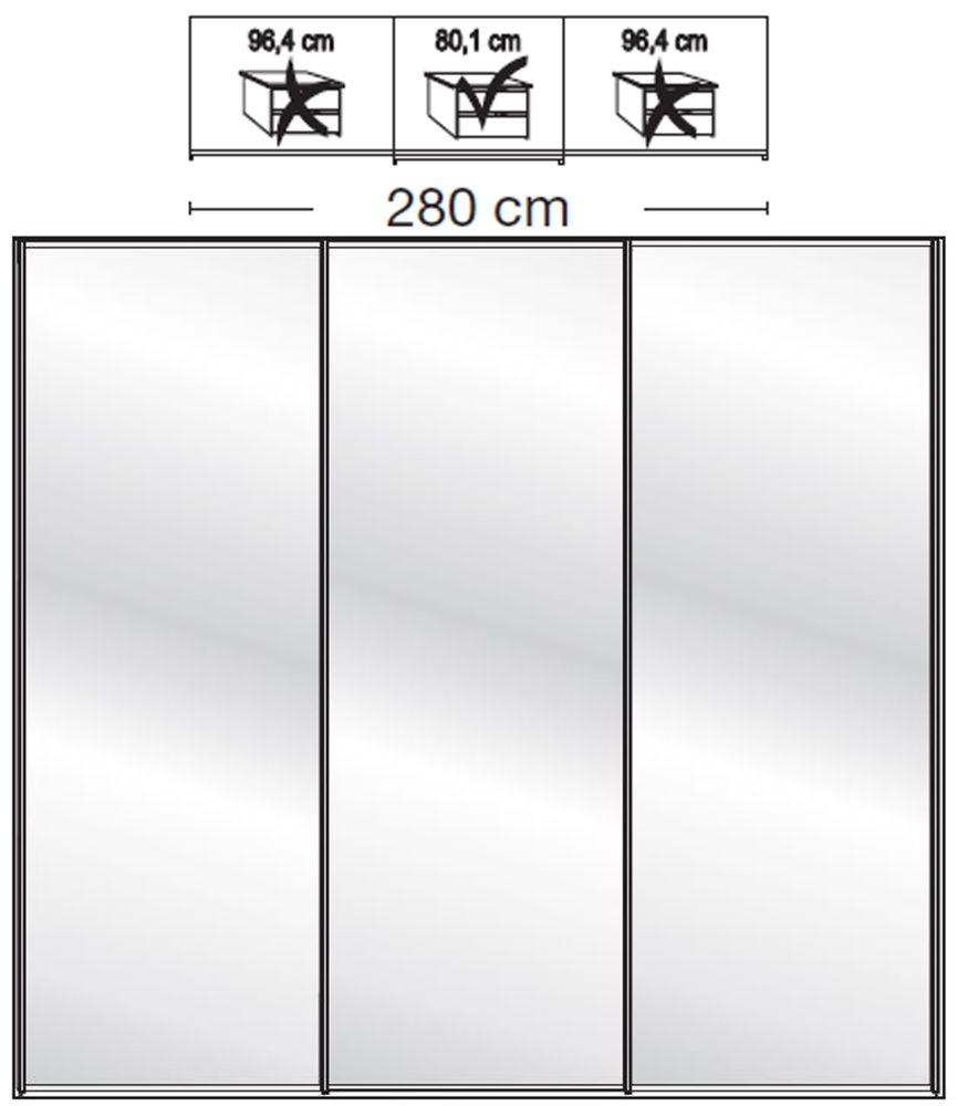 Wiemann VIP Westside2 3 Mirror Door 5 Panel Sliding Wardrobe in White - W 280cm D 67cm