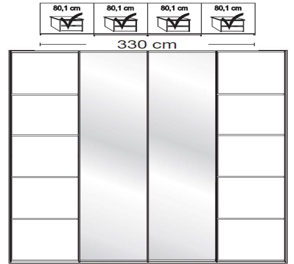 Wiemann VIP Westside2 4 Door 2 Mirror 5 Panel Sliding Wardrobe in White - W 330cm D 67cm