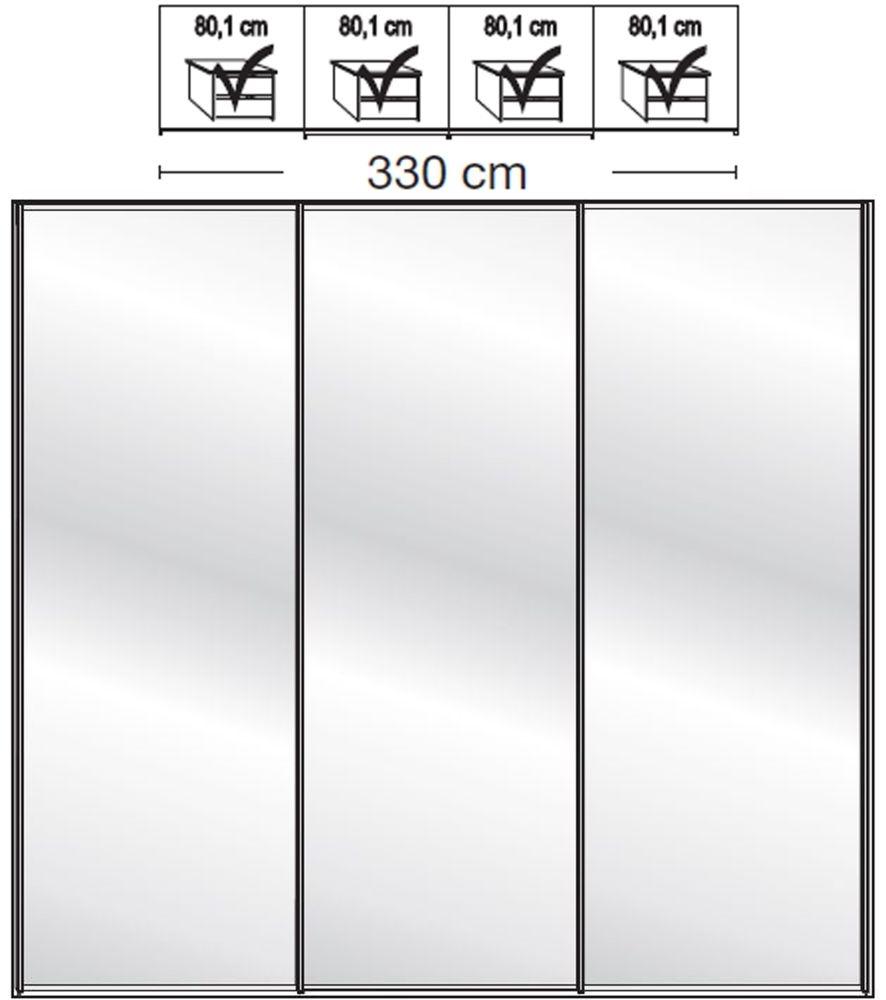 Wiemann VIP Westside2 4 Mirror Door 5 Panel Sliding Wardrobe in White - W 330cm D 67cm