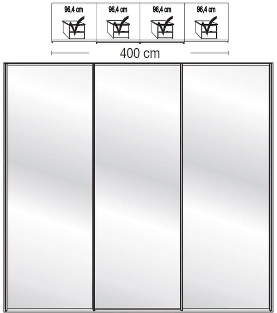 Wiemann VIP Westside2 4 Mirror Door 5 Panel Sliding Wardrobe in White - W 400cm D 67cm