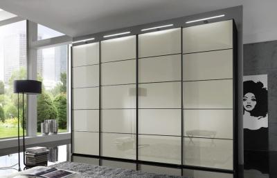 Wiemann VIP Westside 3 Door 1 Glass Door 2 Panel Sliding Wardrobe in Black and Magnolia Glass - W 225cm
