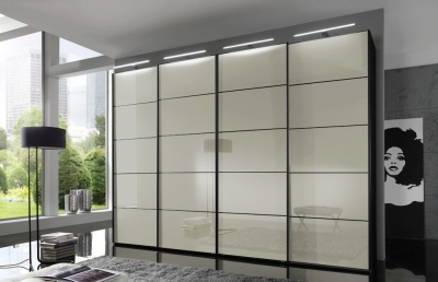 Wiemann VIP Westside 3 Door 1 Glass Door 2 Panel Sliding Wardrobe in Black and Magnolia Glass - W 300cm