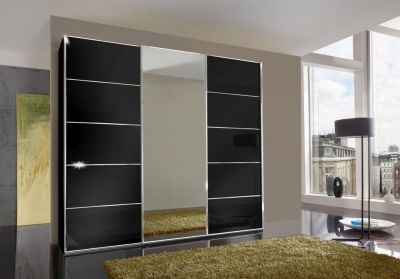 Wiemann VIP Westside 3 Door 1 Mirror Sliding Wardrobe in Black - W 300cm