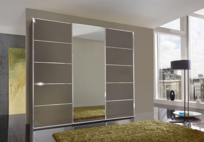 Wiemann VIP Westside 3 Door 1 Mirror Sliding Wardrobe in Havana - W 250cm