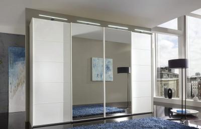 Wiemann VIP Westside 3 Door 1 Mirror Sliding Wardrobe in White - W 280cm