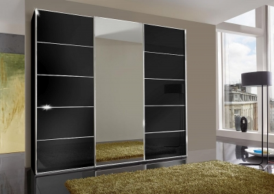 Wiemann VIP Westside 3 Door Mirror Sliding Wardrobe in Black Glass - W 250cm