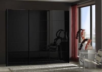 Wiemann VIP Westside 3 Door Sliding Wardrobe in Black Glass - W 280cm