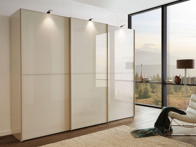 Wiemann VIP Westside 3 Door Sliding Wardrobe in Champagne Glass - W 300cm