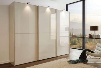Wiemann VIP Westside 4 Door 2 Glass Door 2 Panel Sliding Wardrobe in Champagne - W 330cm