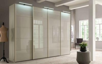 Wiemann VIP Westside 4 Door 2 Glass Door Sliding Wardrobe in Champagne - W 330cm
