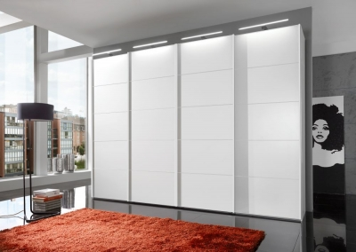 Wiemann VIP Westside 4 Door 2 Glass Door Sliding Wardrobe in White - W 330cm