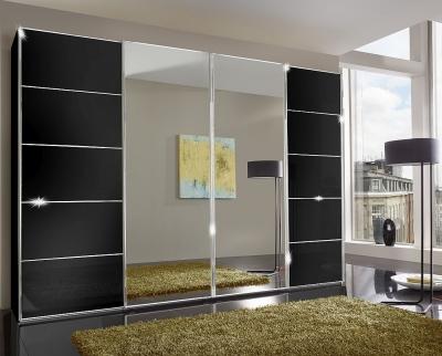 Wiemann VIP Westside 4 Door Mirror Sliding Wardrobe in Black Glass - W 330cm