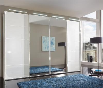 Wiemann VIP Westside 4 Door Mirror Sliding Wardrobe in White Glass with Chrome Trims - W 330cm
