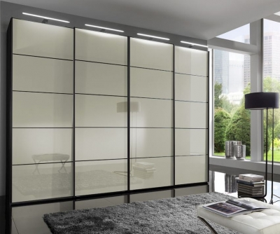Wiemann VIP Westside 4 Door Sliding Wardrobe in Black and Magnolia Glass - W 330cm
