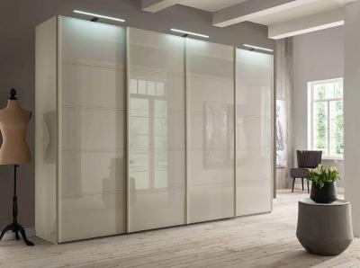 Wiemann VIP Westside 4 Door Sliding Wardrobe in Champagne Glass - W 330cm