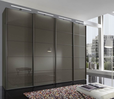Wiemann VIP Westside 4 Door Sliding Wardrobe in Havana Glass - W 330cm