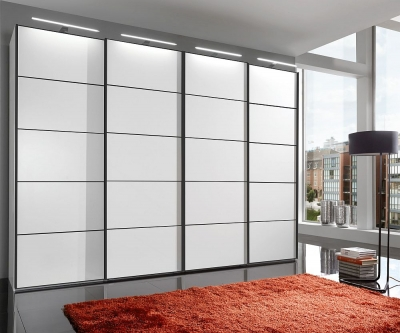 Wiemann VIP Westside 4 Door Sliding Wardrobe in White with Black Trims - W 400cm