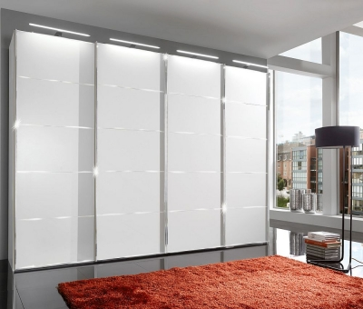Wiemann VIP Westside 4 Door Sliding Wardrobe in White with Chrome Trims - W 400cm