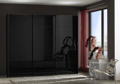 Wiemann VIP Westside Sliding Wardrobe with Black Glass Front