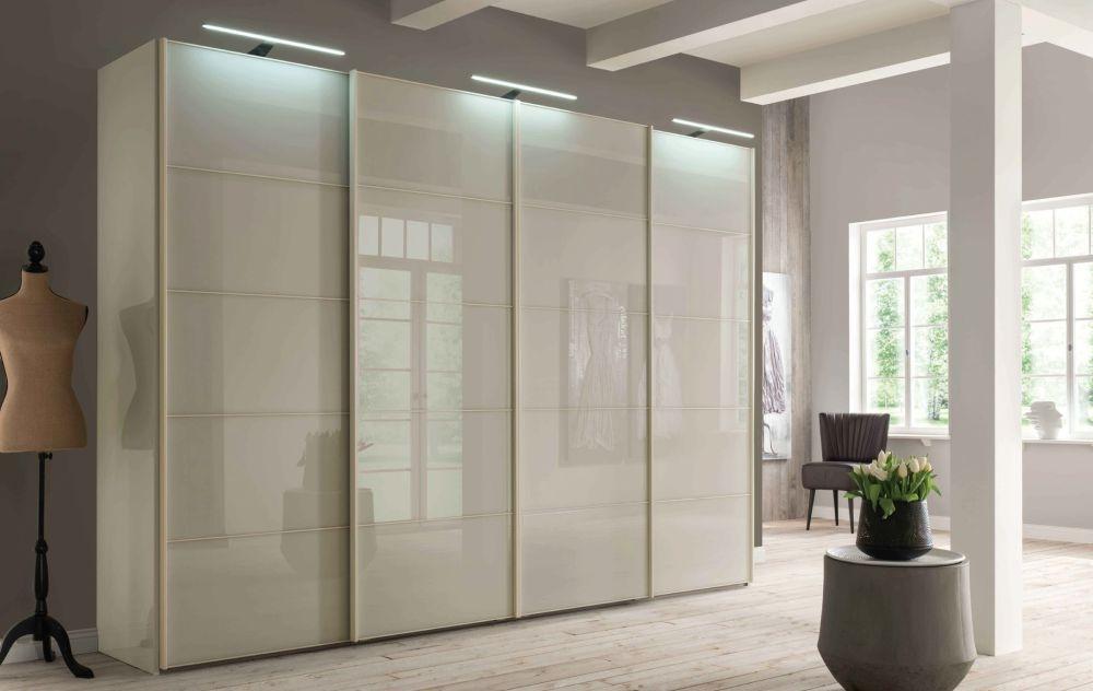 Wiemann VIP Westside 2 Door 1 Right Glass Door Sliding Wardrobe in Champagne - W 150cm