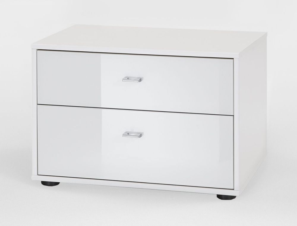 Wiemann VIP Westside 2 Drawer Bedside Cabinet in White - W 60cm