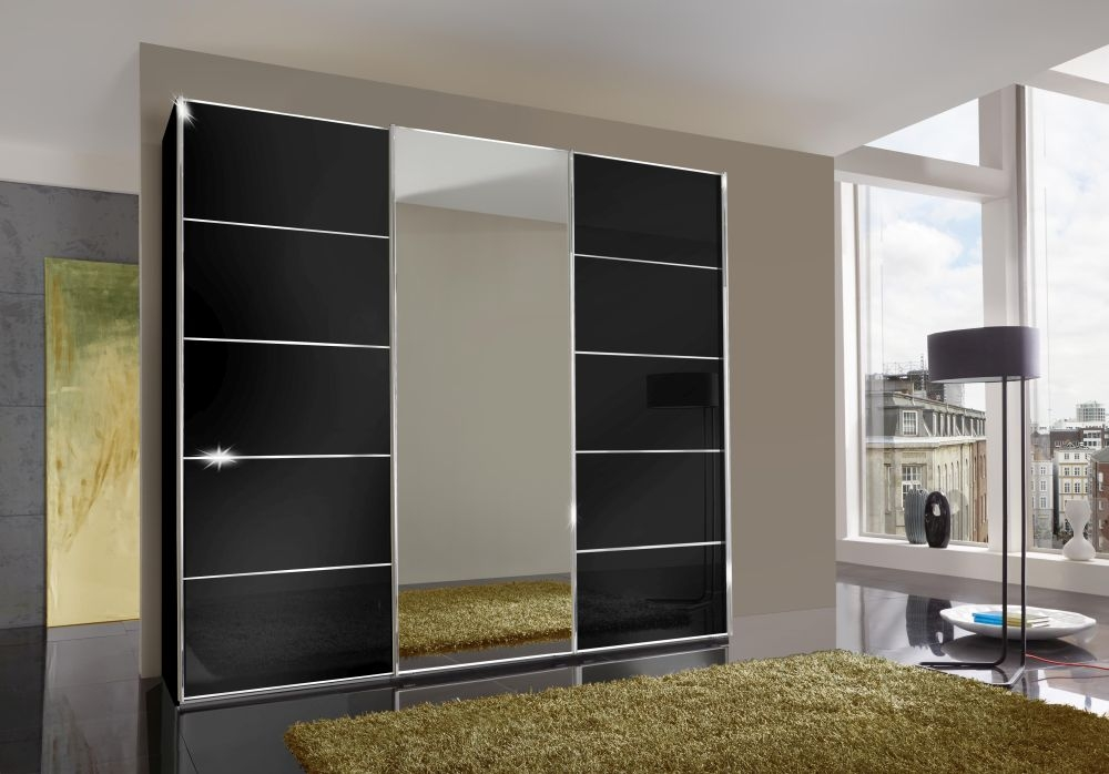 Wiemann VIP Westside 3 Door 1 Mirror Sliding Wardrobe in Black - W 225cm