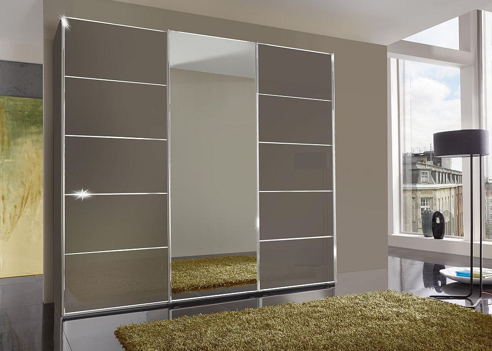 Wiemann VIP Westside 3 Door Mirror Sliding Wardrobe in Havana Glass - W 250cm