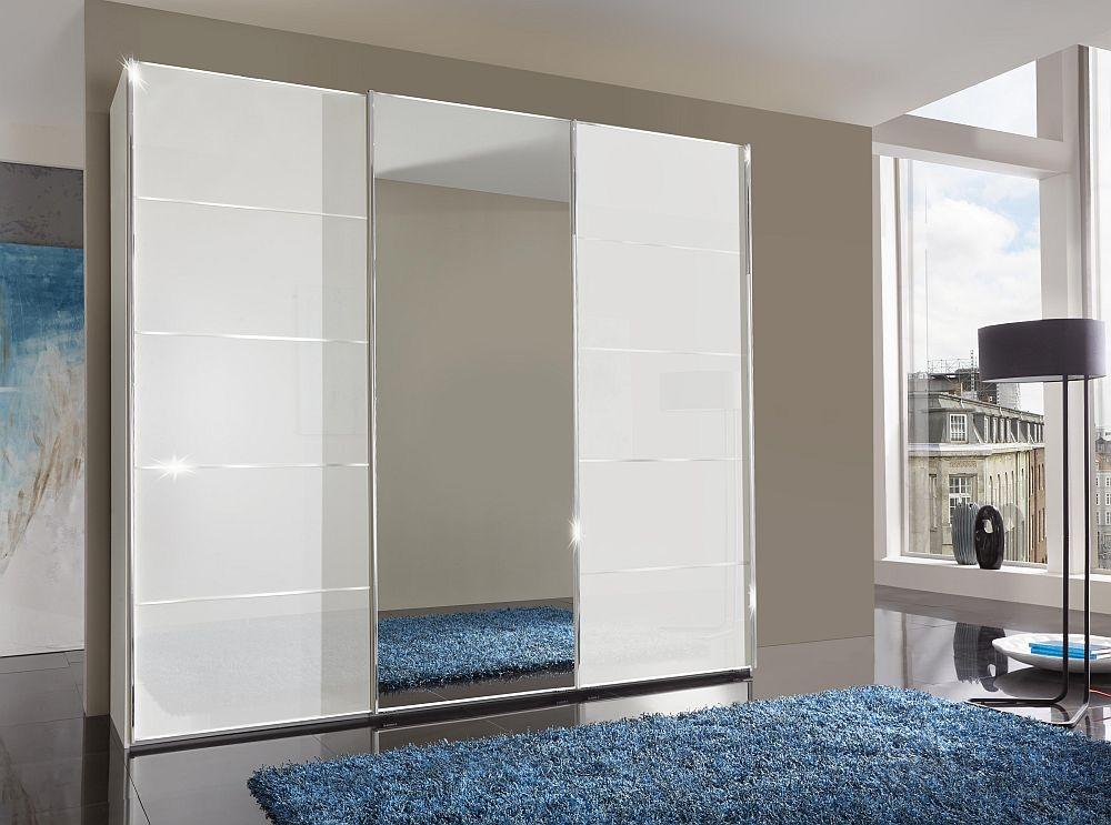Wiemann VIP Westside 3 Door Mirror Sliding Wardrobe in White Glass - W 250cm