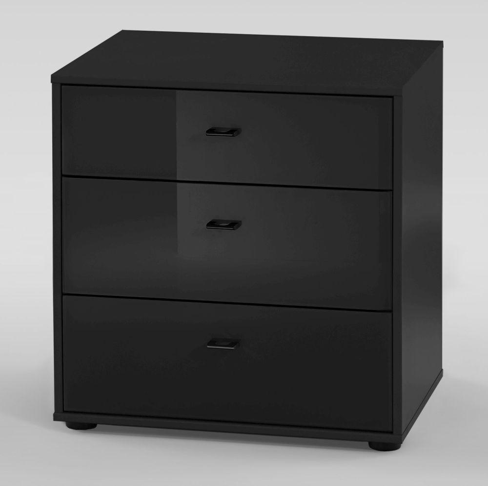 Wiemann VIP Westside 3 Drawer Bedside Cabinet in Black - W 60cm