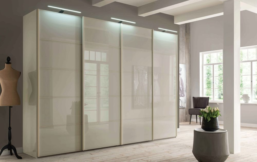 Wiemann VIP Westside 4 Door 2 Glass Door Sliding Wardrobe in Champagne - W 330cm