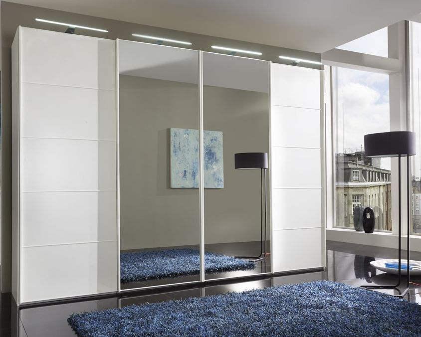 Wiemann VIP Westside 4 Door Mirror Sliding Wardrobe in White Glass - W 330cm