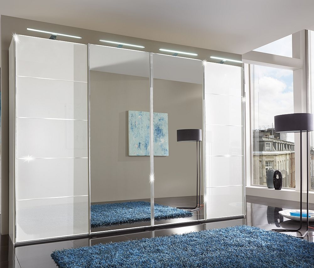 Wiemann VIP Westside 4 Door Mirror Sliding Wardrobe in White Glass with Chrome Trims - W 330cm