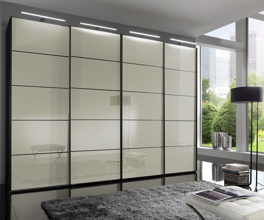 Wiemann VIP Westside 4 Door Sliding Wardrobe in Black and Magnolia Glass - W 330cm