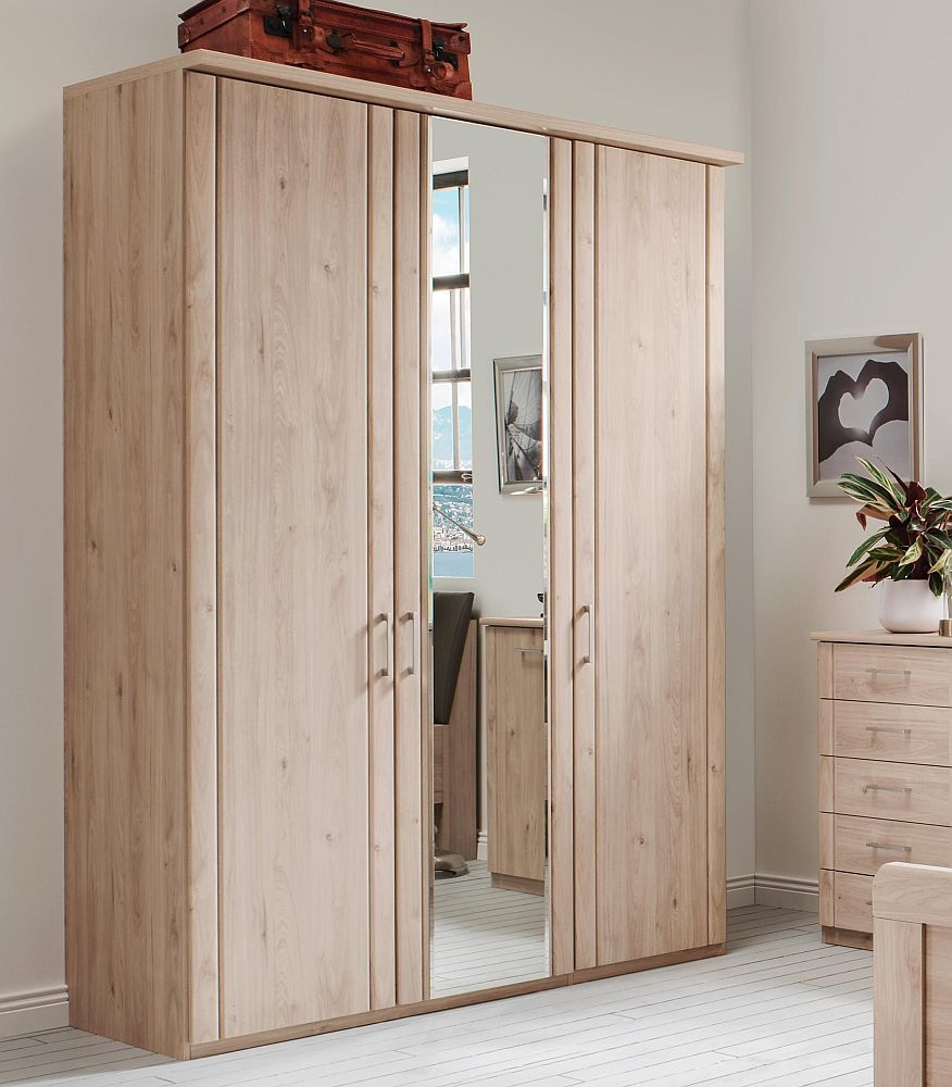 Wiemann Valencia 3 Door Mirror Wardrobe in Holm Oak - W 150cm