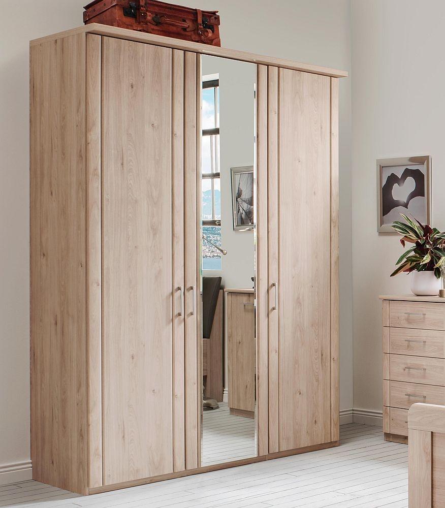 Wiemann Valencia 3 Door Mirror Wardrobe in Holm Oak - W 150cm
