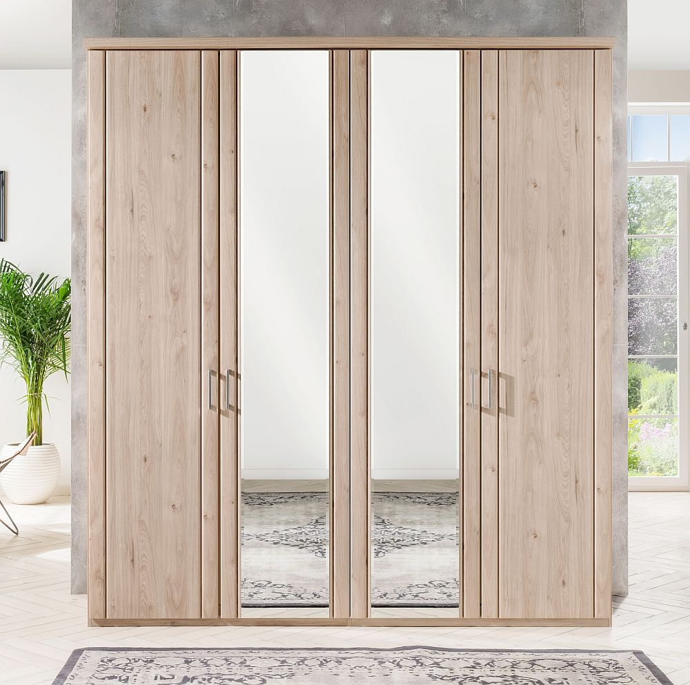 Wiemann Valencia 4 Door Mirror Wardrobe in Holm Oak - W 200cm