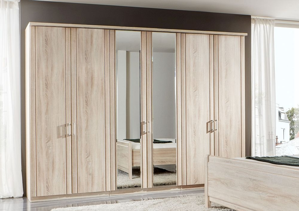 Wiemann Valencia 6 Door Mirror Wardrobe in Rustic Oak - W 300cm