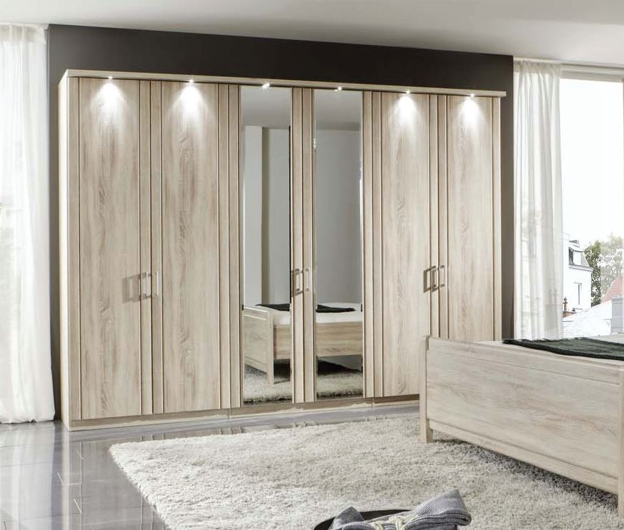 Wiemann Valencia 6 Door 2 Mirror Wardrobe in Rustic Oak - W 300cm