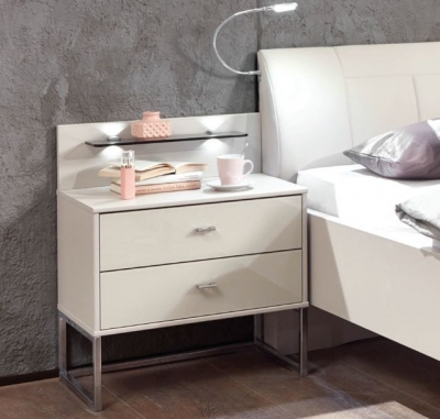 Wiemann Vigo 2 Drawer Bedside Cabinet in Champagne - W 60cm