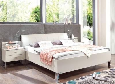 Wiemann Vigo 6ft Queen Size 48cm Footboard Height Faux Leather Cushion Bed in Champagne - 180cm x 200cm