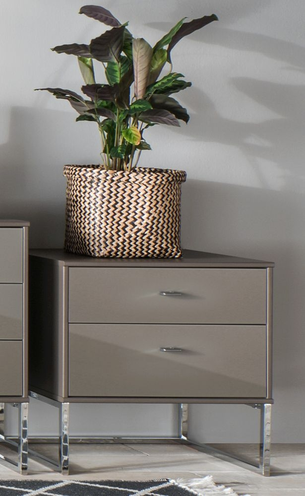 Wiemann Vigo 2 Drawer Glass Bedside Cabinet in Havana - W 40cm