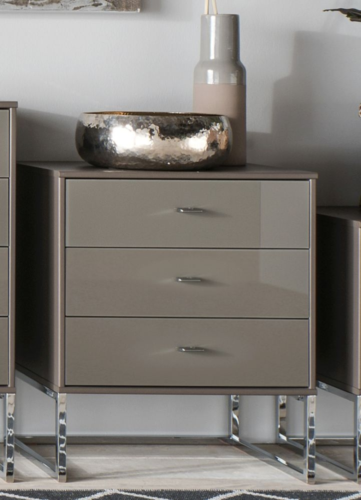 Wiemann Vigo 3 Drawer Glass Bedside Cabinet in Havana - W 40cm