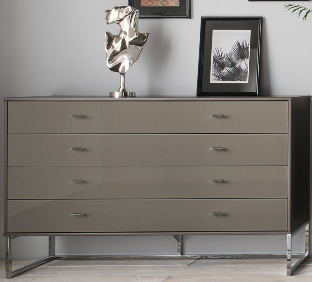 Wiemann Vigo 5 Drawer Glass Chest in Havana - W 80cm