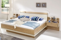 Wiemann Wega 6ft Queen Size Faux Leather Cushion Bed in Oak and Champagne - 180cm x 200cm