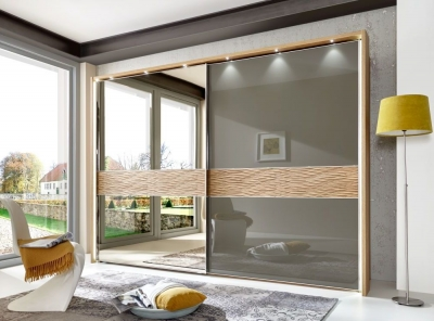 Wiemann Wega 2 Door Left Mirror Sliding Wardrobe in Oak and Havana Glass - W 300cm